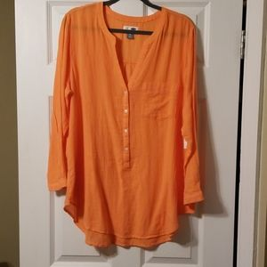 Women's Orange Sheer Tunic
